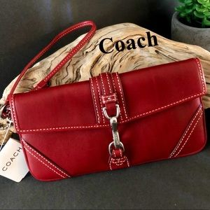 Coach Red Leather Wristlet NWT